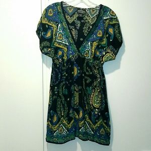 Angie black paisley tunic or mini dress